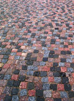 Old cobblestone pavement vertical