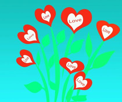 valentine day love flower garden filled with heart shaped flowers