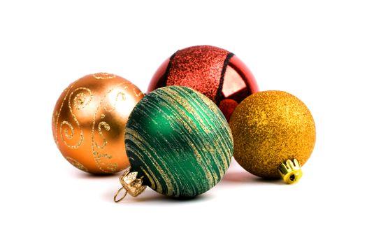 four glass christmas balls