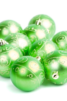 green glass christmas balls