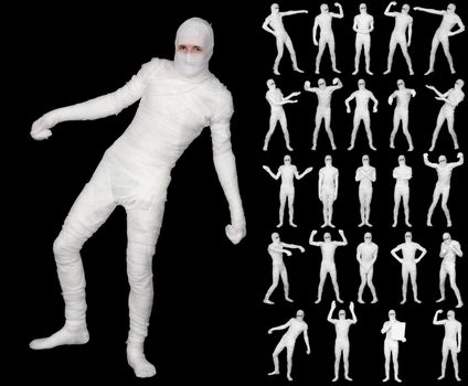 Collection of terrible bandaged mummies isolated on black backgr