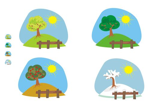 cliparts and icons for the four seasons