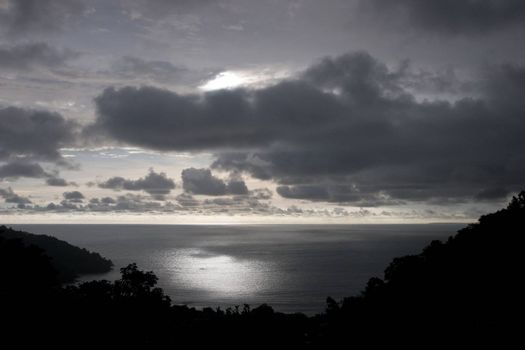 Dramatic sky close to sunset at Manuel Antonio Bay, in Costa Rica.