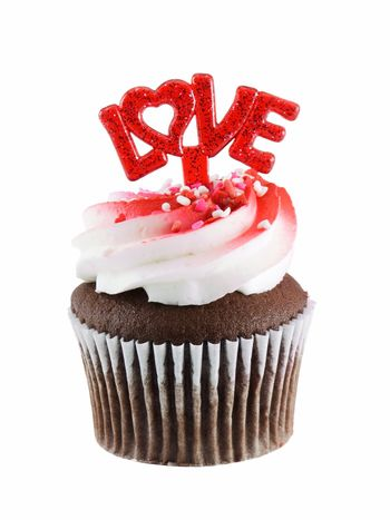 Cupcake with love isolated on a white background