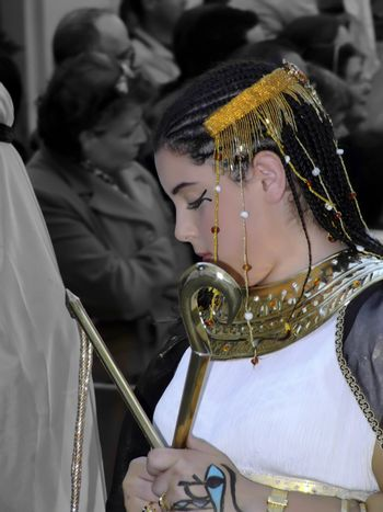 Beauties of the Ancient Empires - Images shot during parade demonstrating fashion and beauty of ancient empires of Rome, Egypt, Judea, etc