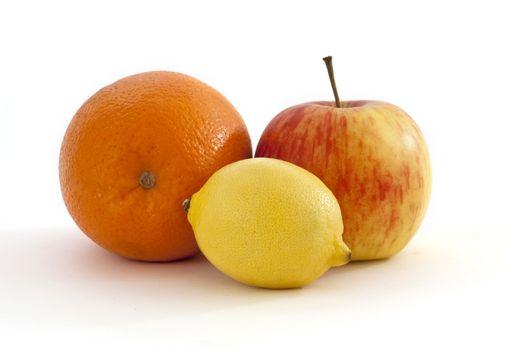 orange, lemon, apple