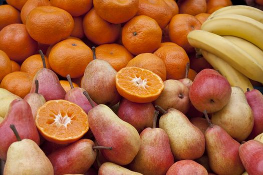 pears, tangerines and bananas
