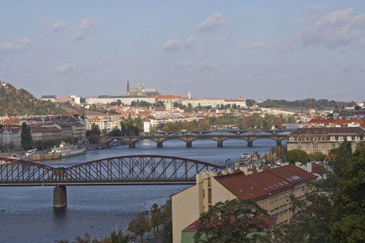 Prague, Vltava river, bridges