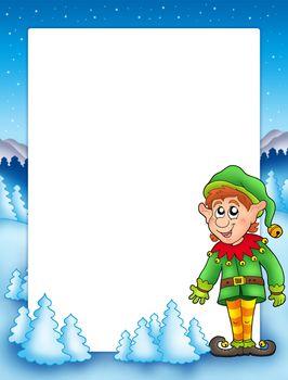 Christmas frame with elf
