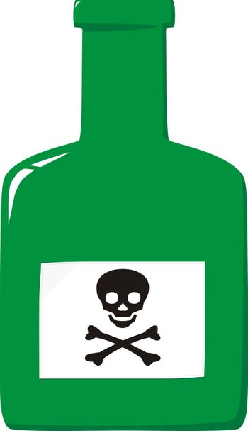 Bottle with poison and label a skull and crossbones