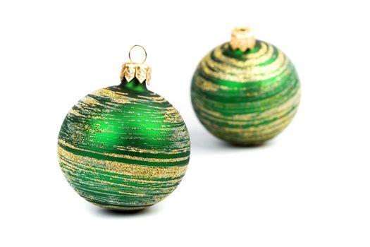 two green christmas balls