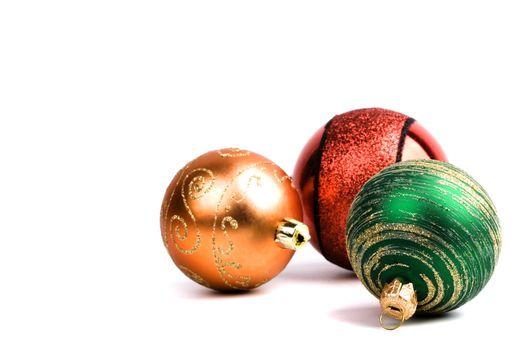 three glass christmas balls