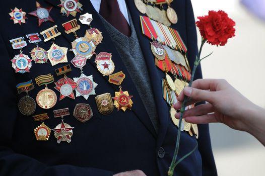 Flowers for veteran of war