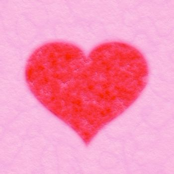 red fabric heart on pink textile background