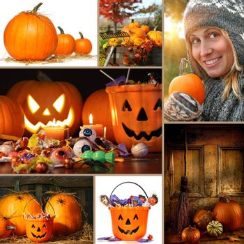 Halloween and autumn collage of pumpkins, candies and foliage