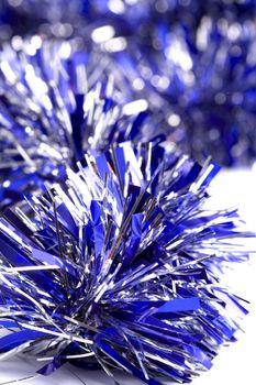 blue christmas tinsel