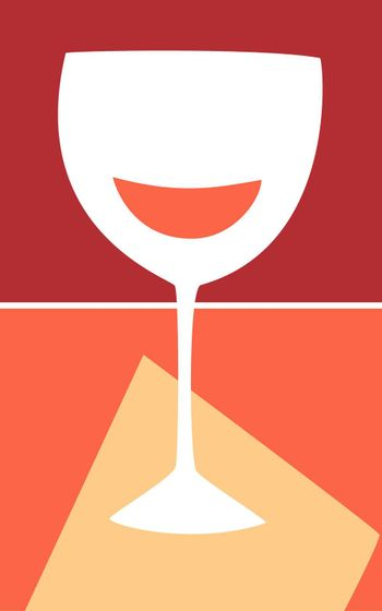 Retro Styled wine glass in warm colors.