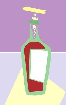 Retro styled wine bottle in purple colors.