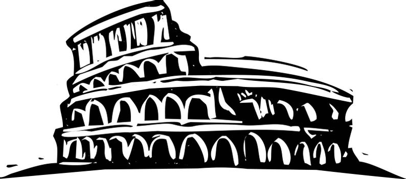 Black and White woodcut style illustration of the Roman Coliseum.