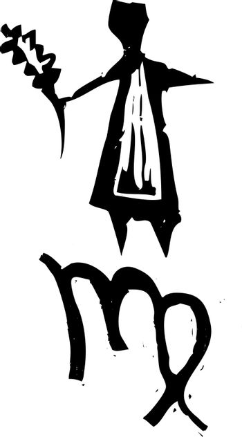 Primitive woodcut style zodiac sign of Virgo. Part of a series.