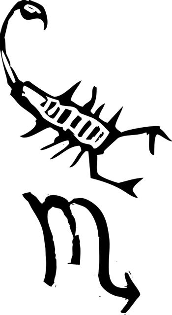 Primitive woodcut style zodiac sign of Scorpio. Part of a series.