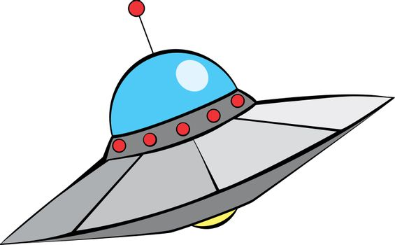 Retro Alien Flying Saucer with in mid-century modern style.