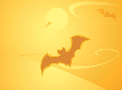 Softly orange colored desktop background, halloween themed with bats.