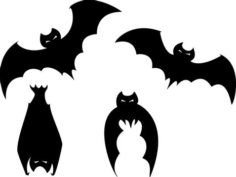 Set of four scary bats for Halloween spot images.