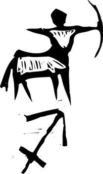 Primitive woodcut style zodiac sign of Sagittarius  . Part of a series.