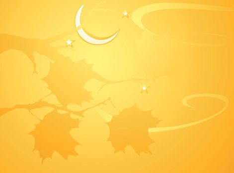 Softly orange colored desktop background, halloween themed with leaves.