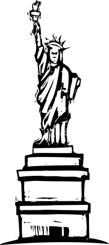 Woodcut image of the statue of liberty in new york