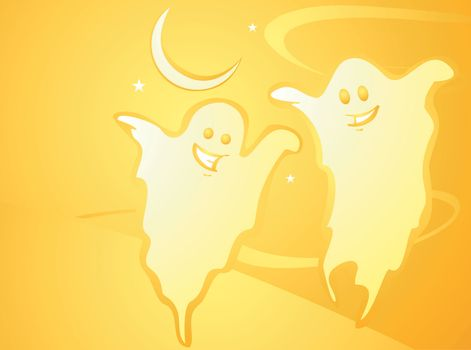 Softly orange colored desktop background, halloween themed with Ghosts.