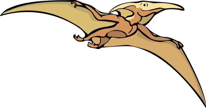 A dinosaur Pterodactyl flying in the sky.