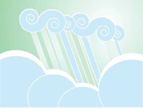 Softly colored desktop background with clouds.
