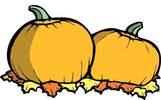 Two orange pumpkins in a Halloween Pumpkin Patch