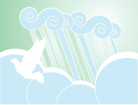 Softly colored desktop background of rain, clouds and dove.