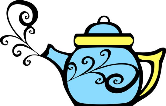 retro 70s image of a psychedelic teapot with steam coming out.