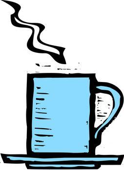 rough woodcut image of a blue coffee mug.