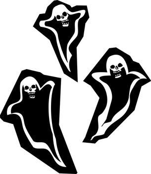 Three Halloween phantom ghosts with skull heads.