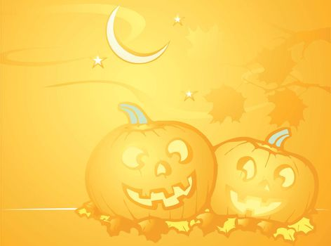 Softly orange colored desktop background, halloween themed with pumpkins.