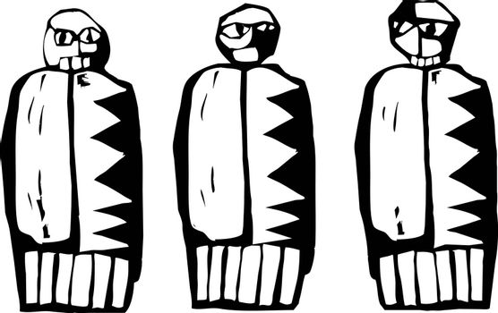 Three dolls in the style of Native Pictographs.