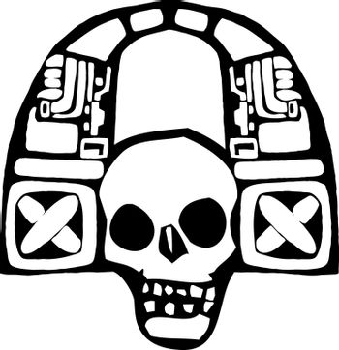 Mayan Skull spinning music and listening to headphones