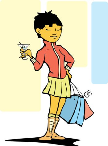 Stylish woman with shopping bags and a martini.