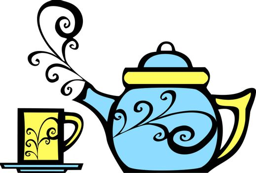 retro 70s image of a psychedelic teapot and matching mug.