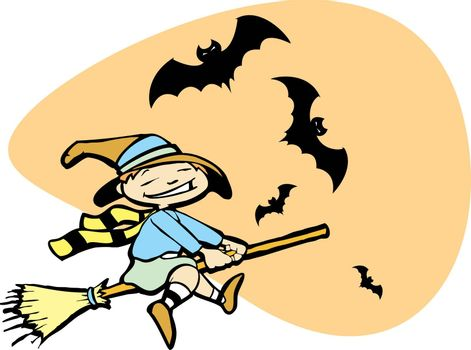 Halloween image of a young witch flying on a broom with bats around.