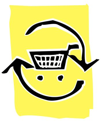 Shopping Cart in a circle of recycle or refresh arrows.