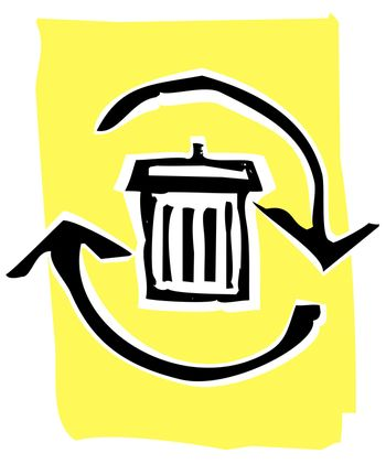 Trashcan in a circle of recycle or refresh arrows.