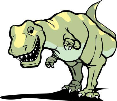 Smiling Tyrannosaurus Rex with yellow patterning.