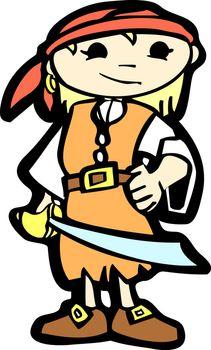 Girl in pirate costume with a cutlass.