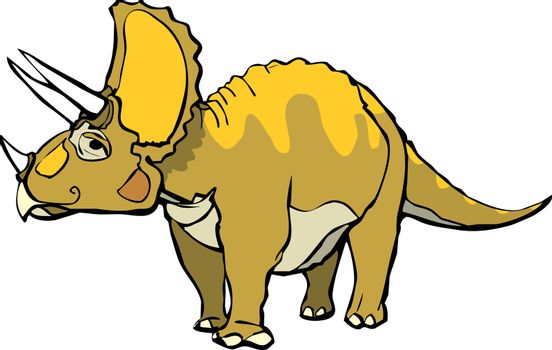 Triceratops  with a pleasant expression and orange patterning.
